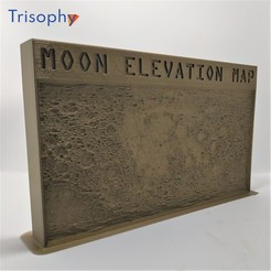 MOON_1W.jpg Download STL file MOON elevation map for desktop or wall hanging • 3D print model, Trisophy