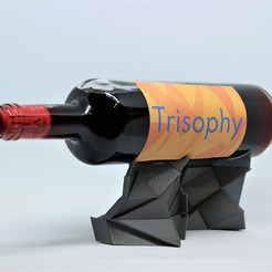 IMG_1721_edited.jpg Download STL file POLY CHAOS wine bottle holder • 3D printer model, Trisophy
