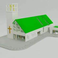 iglesia3D 01.png Download STL file 3D Church in N scale • 3D print design, gaudikudo