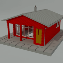 Download free 3D printing templates Basic one-storey house in N scale, gaudikudo