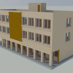 edificio publico01.png Download STL file Public building with commerce in scale N • 3D print design, gaudikudo