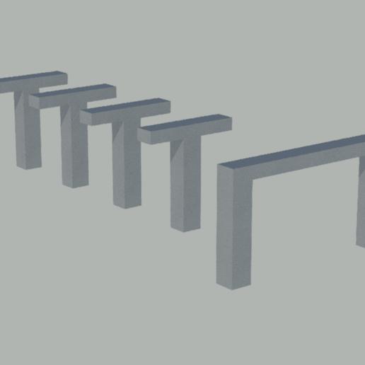 Télécharger fichier STL gratuit Piliers avec poutres pour passages à niveau à l'échelle N • Objet imprimable en 3D, gaudikudo