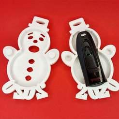 Printed_Halves_With_Drive.jpg Télécharger fichier STL gratuit Décoration de Noël du bonhomme de neige 2020 avec compartiment cadeau • Design à imprimer en 3D, sajohnsen1
