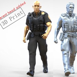 P3-1.1e.jpg Download 3MF file N3 American Police Officer Miniature Walking • Template to 3D print, nasiri12460