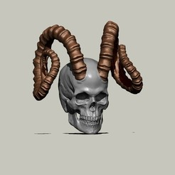 horny1.jpg Download STL file Skull with Ibex goat horns • 3D printable design, chazz1981