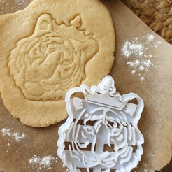 Download 3D printing templates Tiger King Cookie Cutter - Tiger with Crown, katieuk95