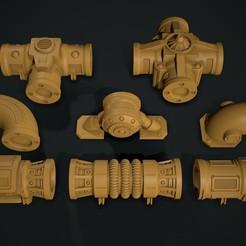 AllPieces.jpg Télécharger fichier STL Système de tuyauterie modulaire Warhammer 40k • Objet à imprimer en 3D, mccoli3d