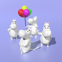 All.jpg Download STL file Moomins (pack of 4) • 3D print object, Murmyav