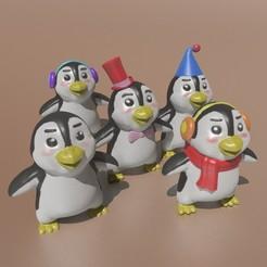All_Pingus.jpg Download STL file Cute Penguins (set of 5) • Design to 3D print, Murmyav