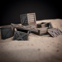 Download STL file Wooden Crates for Dioramas and Tabletop • 3D printing design, The3Dprinting