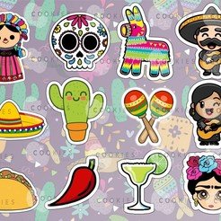 mexicna.jpg Download free STL file Set of 12 Mexican Party Cookies Set (Only Outline) • 3D printing object, icepro10