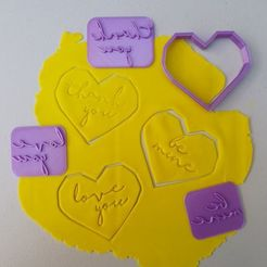 Download 3D printing designs CUTTER SET AND 3 HEART STAMPS, icepro10