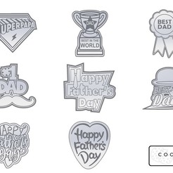Download free STL file SET OF 8 FATHERS DAY COOKIE CUTTERS • 3D printer object, icepro10