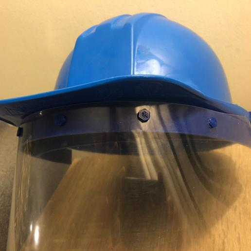WhatsApp Image 2020-06-05 at 11.16.05 AM (1).jpeg Download STL file face shield adaptor security helmet • Template to 3D print, wernerfrass