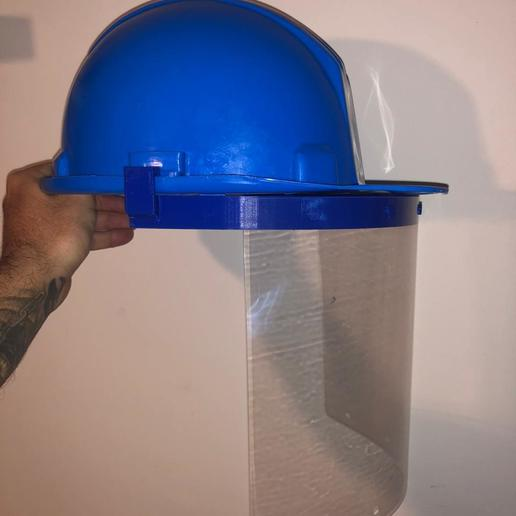 WhatsApp Image 2020-06-05 at 11.16.04 AM.jpeg Download STL file face shield adaptor security helmet • Template to 3D print, wernerfrass