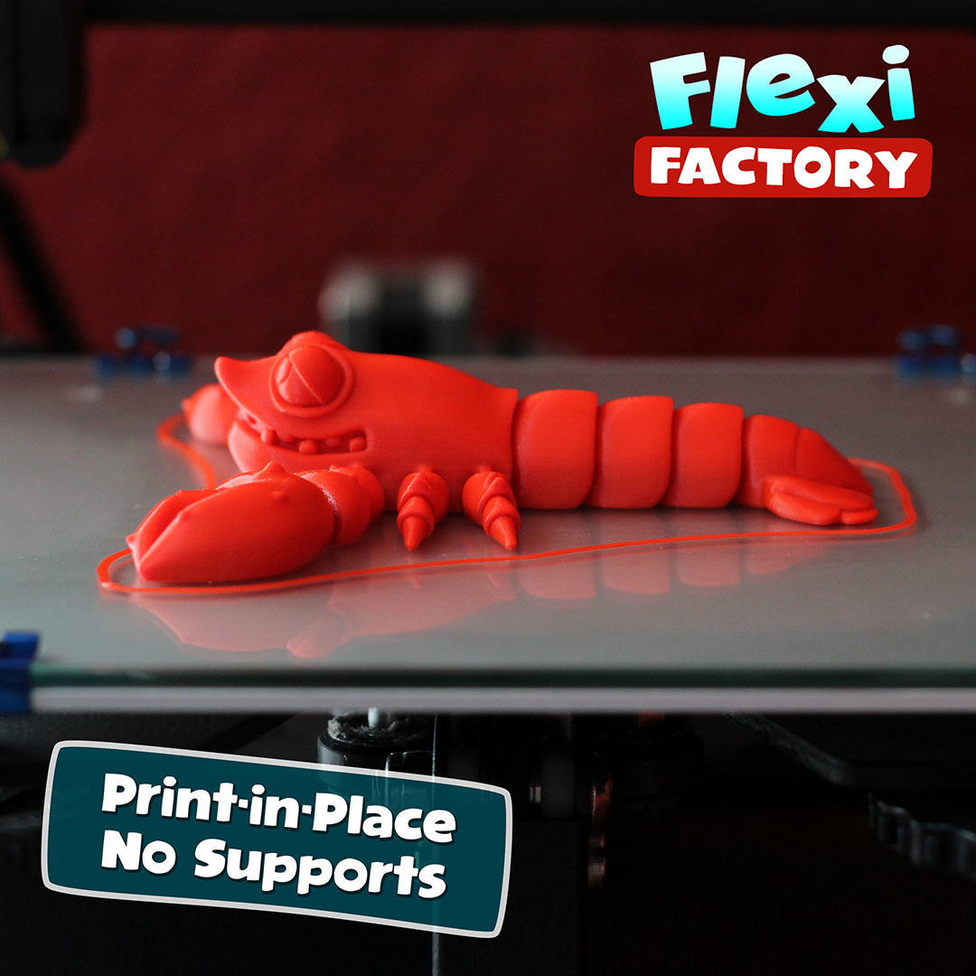 LobsterBed01.jpg Download STL file Cute Flexi Print-in-Place Lobster • 3D printing design, FlexiFactory