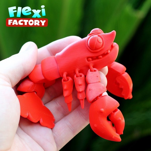 B.jpg Download STL file Cute Flexi Print-in-Place Lobster • 3D printing design, FlexiFactory