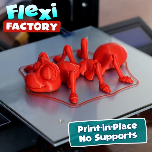 Ant03.jpg Download STL file Cute Flexi Print-in-Place Ant • 3D printing design, FlexiFactory