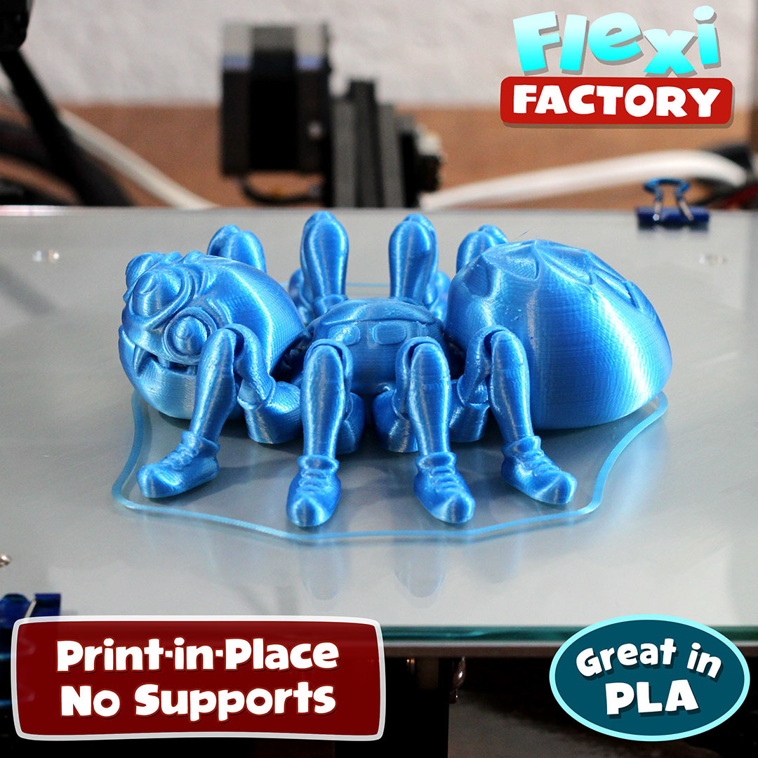 Spider_Blue2.jpg Download STL file Cute Flexi Print-in-Place Spider • 3D printer template, FlexiFactory