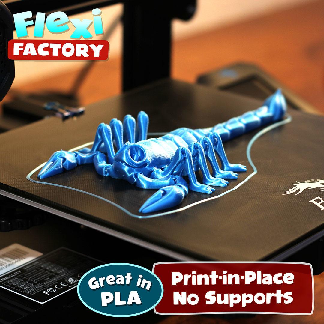Scorpion_01.jpg Download STL file Flexi Print-In-Place Scorpion • 3D printer object, FlexiFactory
