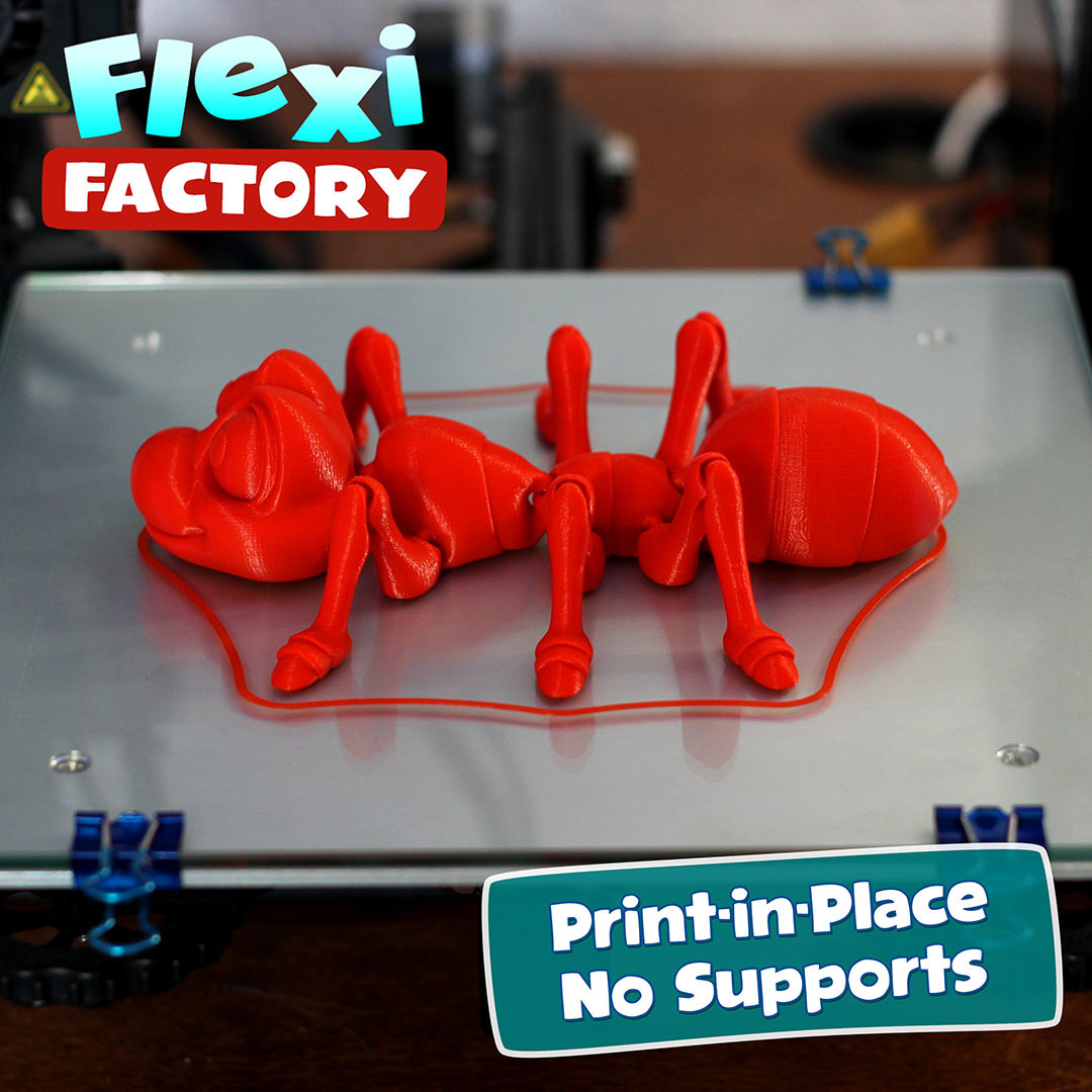 Ant04.jpg Download STL file Cute Flexi Print-in-Place Ant • 3D printing design, FlexiFactory