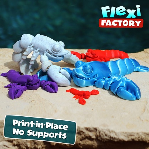 Lobster_A.jpg Download STL file Cute Flexi Print-in-Place Lobster • 3D printing design, FlexiFactory