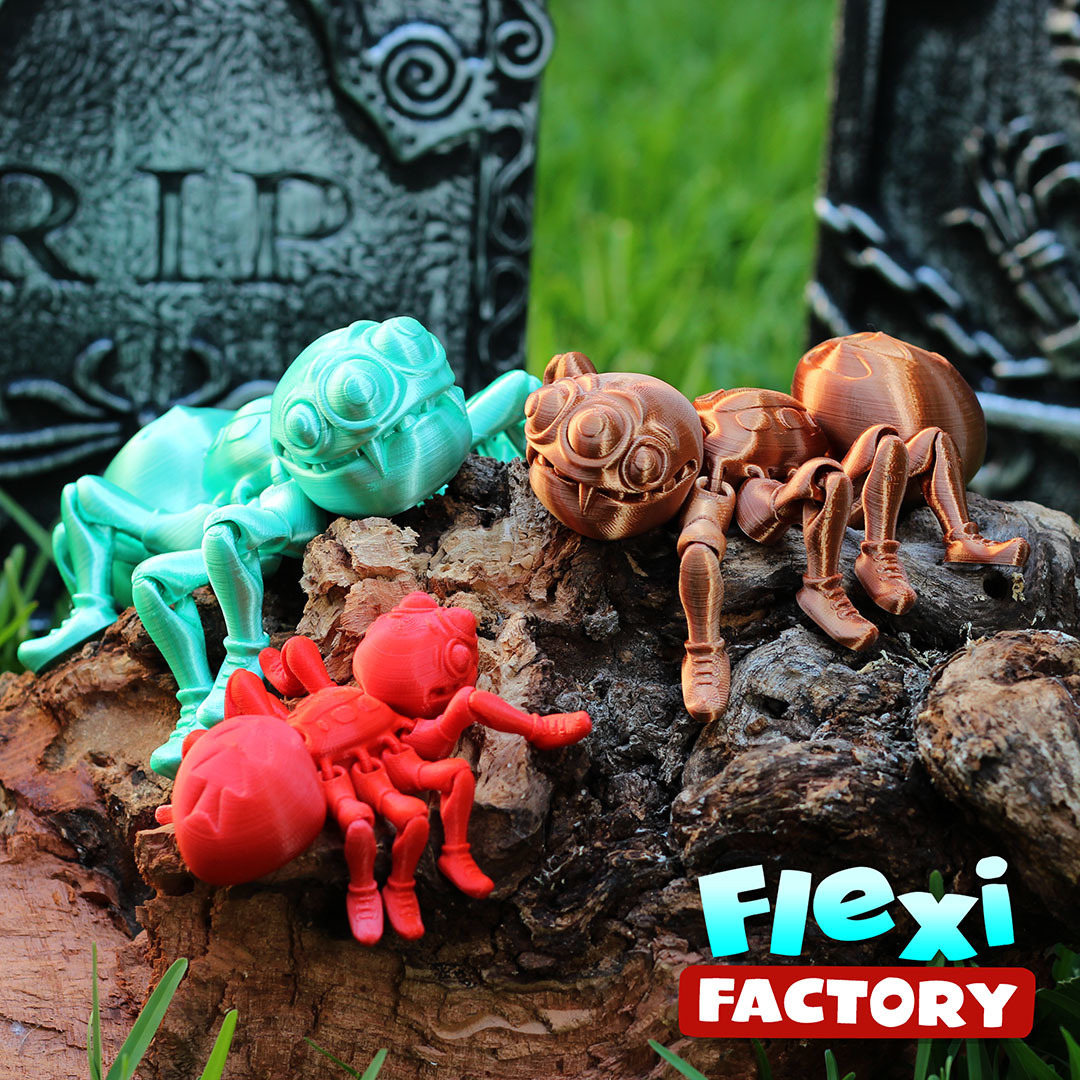 Spider_A.jpg Download STL file Cute Flexi Print-in-Place Spider • 3D printer template, FlexiFactory