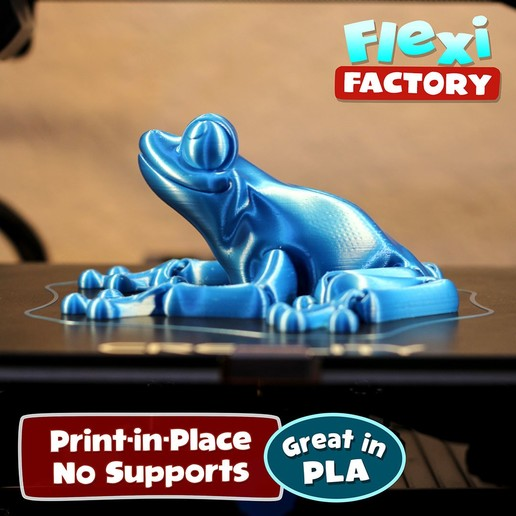 Frog_02.jpg Download STL file Cute Flexi Print-in-Place Frog • Template to 3D print, FlexiFactory