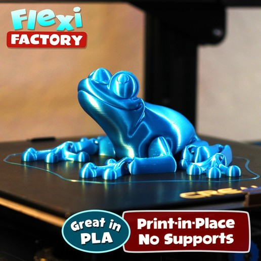 Frog_01.jpg Download STL file Cute Flexi Print-in-Place Frog • Template to 3D print, FlexiFactory