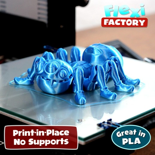 Spider_Blue1.jpg Download STL file Cute Flexi Print-in-Place Spider • 3D printer template, FlexiFactory