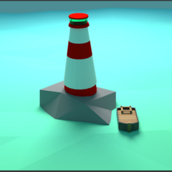 Download free 3D printer files Low poly light house and a boat, ninjadamasterda101