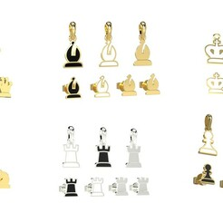 chess.24324.jpg Download STL file Chess pendants and earrings set 3D print models 3D print model • 3D printer design, papcarlo