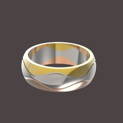 untitled.360.jpg Download OBJ file 3 waves wedding ring • 3D printing design, papcarlo