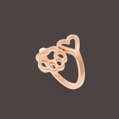 2 (1).jpg Download OBJ file Heart and paw ring • 3D printable model, papcarlo