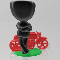 Robert biker 1.jpg Download STL file Robert plant - Motorcycle biker • 3D print model, henryestuardogm