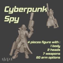pose-D-title.png Télécharger fichier STL Cyberpunk spy (D model) for 32mm wargames • Modèle imprimable en 3D, akewea