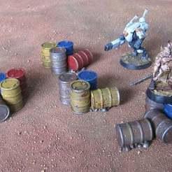 Descargar Modelos 3D para imprimir gratis Wargame 28/32mm barriles pila / racimo, akewea