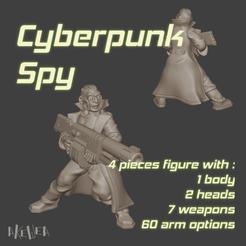 pose-B-title.png Télécharger fichier STL Cyberpunk spy (B model) for 32mm wargames • Modèle pour impression 3D, akewea