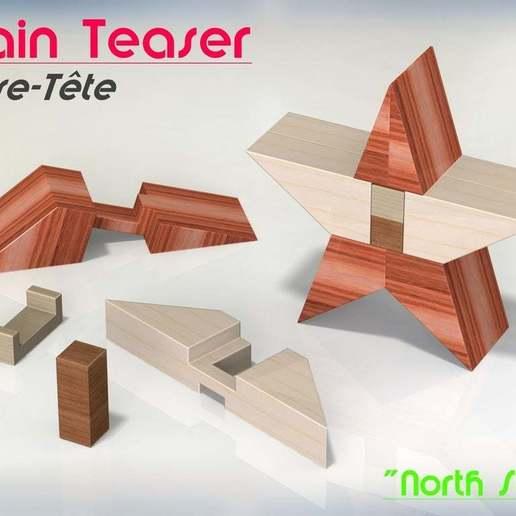 """Télécharger fichier STL gratuit Brain Teaser (Casse-tête) """"North Star"""", Jetstorm-3D"""