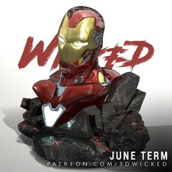 300620 - Wicked - Iron man bust 01.jpg Download STL file Wicked Marvel Avengers Iron man 3d Bust: STL ready for printing • 3D printer design, Wicked