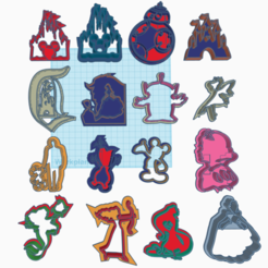 1.png Download STL file 16 Disney cookie/PLAYDOUGH CUTTER'S • 3D printable object, izombie16
