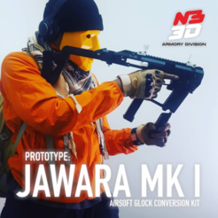 Download 3D printing templates Glock Conversion Kit - Jawara Mk.I - for airsoftgun, santoso77