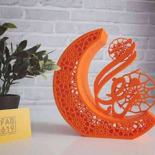 Télécharger STL gratuit Calligraphie 3D de Ramadan Kareem - Croissant de lune, Fab619