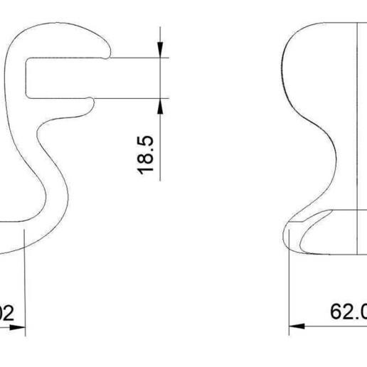 "CHH_Drawing.jpg Download free STL file ""Cobra"" Headphone Hook • 3D printable design, moXDesigns"