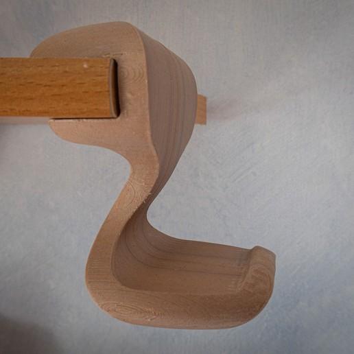 """woodPLA side.JPG Download free STL file """"Cobra"""" Headphone Hook • 3D printable design, moXDesigns"""