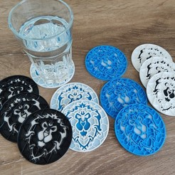Download free 3D printing templates Warcraft Alliance Coaster, CapnRot