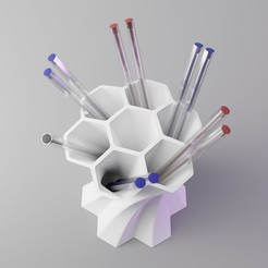 hexabeePencase_1.jpg Download STL file Hex a bee Desktop Stand • Template to 3D print, dh_str