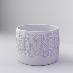 byzantine motif bowl2.jpg Download STL file Byzantine Architectural Ornamend Decorated Bowl • 3D printing model, dh_str