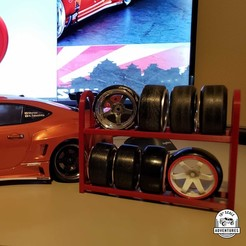 size reduced a.jpg Download STL file Scale Tire Rack for Drift Wheels & Tires (1:10 Sedan) • 3D printer design, 10thScaleAdventures