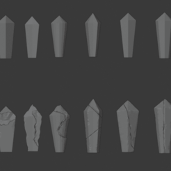 Crystal-01.png Download free STL file Damaged Crystal Pack • 3D print model, LordInvoker